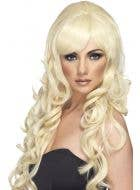 Long Curly Blonde Wig for Women with Fringe