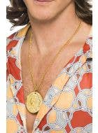 Hippie 70's Gold Metal Medallion Costume Necklace