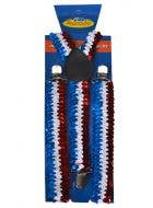 Sequined Red White and Blue Aussie Coloured Suspenders