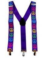 Neon Peace Sign Rainbow Costume Suspenders