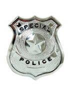 Special Police Silver Metal Badge Costume Accessory