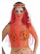 Desert Princess Red Veil Headpiece