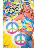 Women's Rainbow Peace Sign Hippie Costume Earrings