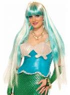Mermaid Blue And Blonde Long Women's Costume Wig Image 1