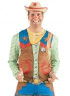Men's Toy Cowboy Wild West Printed Faux Real Costume Top Front