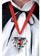 Red and Silver Giant Bat Medallion Costume Necklace
