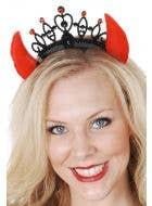 Red Devil Horns on a Black Tiara Headband