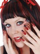 Extra Long Halloween Costume Nails - Black and Red