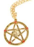 Gold Pentagram Halloween Costume Necklace