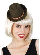 Mini Dark Green Oktoberfest Hat With Attached Hair Clips