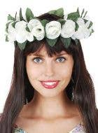 Flower Crown Headband with White Roses