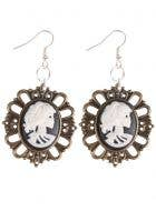 Skeleton Cameo Halloween Costume Earrings