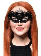 Flocked Finish Black and Silver Crown Mask