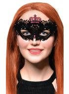 Flocked Finish Black and Pink Crown Mask