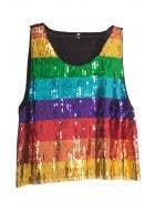 Mardi Gras Men's Rainbow Sequin Costume Top