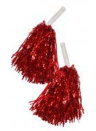 Metallic Red Tinsel Cheerleader Pom Poms Costume Accessory