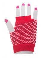 Red Fishnet Fingerless Gloves Costume Accessory Image 1