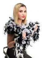 Two Tone Fluffy Feather Boa in Black and White Main Image