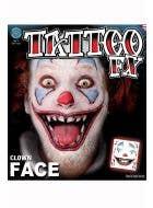 Horror Clown Temporary Tattoo Makeup Main Image