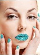 Teal Kisses Rhinestone Stick On Makeup