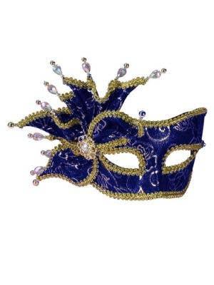 Rose Blue and Gold Brocade Masquerade Mask on Headband