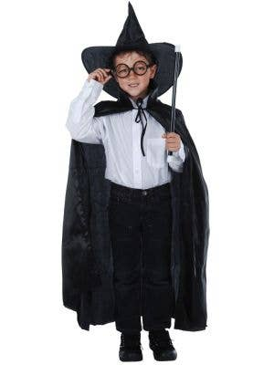 Boy's Wizard Black Cape and Hat Fancy Dress Costume Front