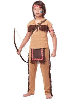 Boy's Native American Indian Warrior Costume Front View
