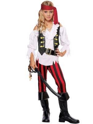 Girls Pirate Posh Black White And Red Costume Image 1