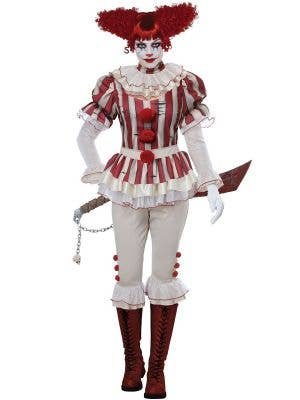 Deluxe Women's Sadistic Clown Halloween Fancy Dress Costume Main Image