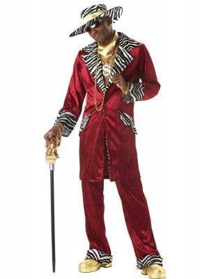 Men's Red Pimp Mac Daddy Costume Main Image