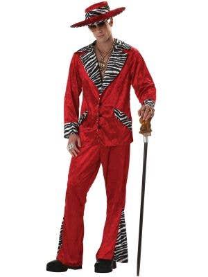 Playa Pimp Red Velveteen Men's Fancy Dress Costume