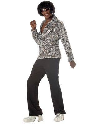 Silver Holographic Men's 70's Disco Costume Shirt - Main Image