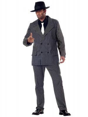 1920s Gangster Mens Black and White Costume - Main Image