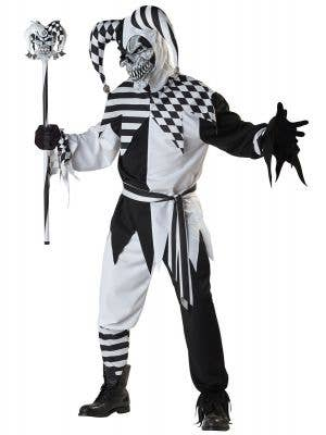 Men's Black and White Jester Halloween Costume
