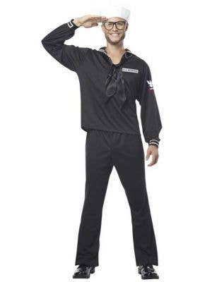 Navy Marine Men's Black Sailor Uniform Costume
