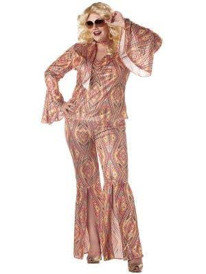 Plus Size Women's 70's Disco Fancy Dress Costume Front