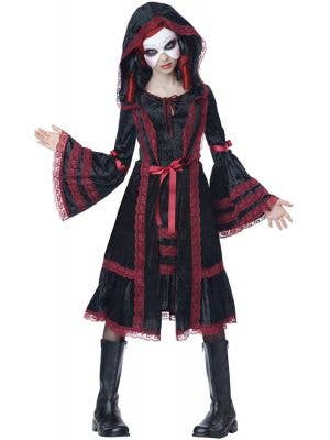 Teen Girl's Gothic Black Doll Halloween Fancy Dress Front