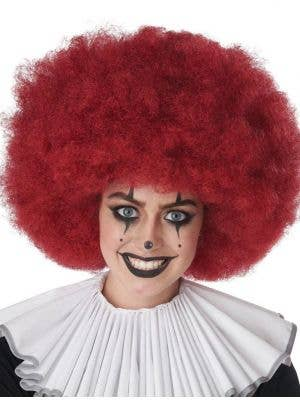 Adult's Jumbo Burgundy Red Clown Afro Costume Accessory Wig View 1