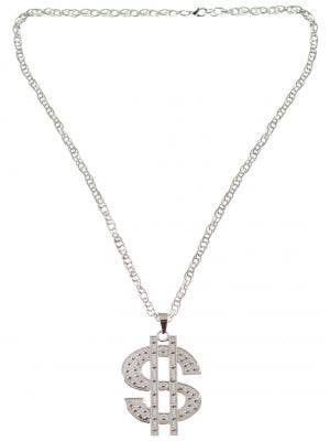 Silver Dollar Gangster Necklace Costume Accessory Jewellery