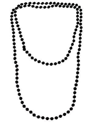 1920s Long Black Flapper Beads Necklace Gatsby Costume Accessory - Main Image