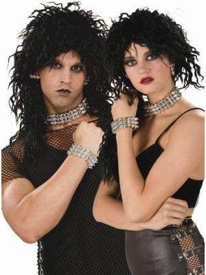 80's Silver Spiked Bracelet, Choker and Earrings Set