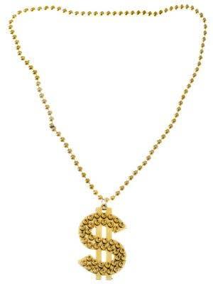 Gold Dollar Sign Bling Gangster Costume Necklace