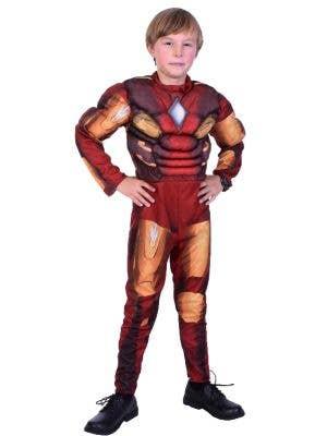 Boys Iron Man Fancy Dress Costume Front View