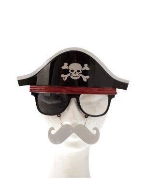 Novelty Funny Pirate Costume Glasses With Attached Black Hat And White Moustache