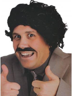 Men's Funny Black Borat Wig and Moustache Set