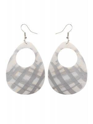80s Fashion Silver and White 1980's Iridescent Shell Costume Earrings - Main Image