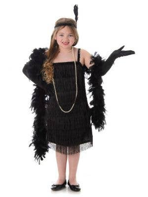 Black Flapper Girls 1920's Fancy Dress Costume Main Image
