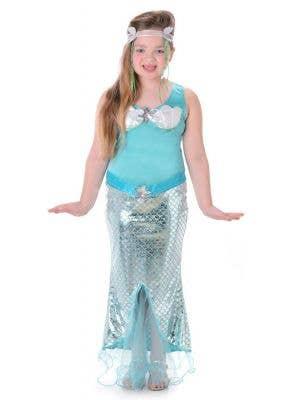 Girls Blue Mermaid Fancy Dress Costume Main Image