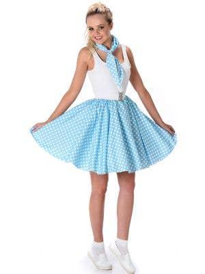 Women's Blue 1950's Skirt with White Polka Dots