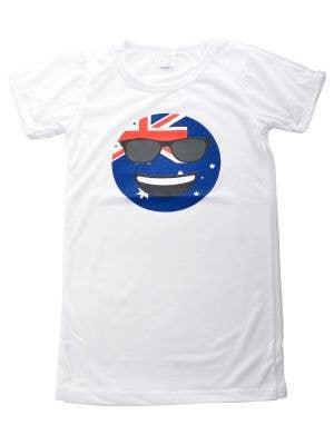 Kids Australia Day Shirt Aussie Flag Happy Emoji